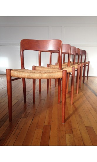 Set of Six Midcentury Danish Teak and Cord Model 75 Dining Chairs by Niels Moller