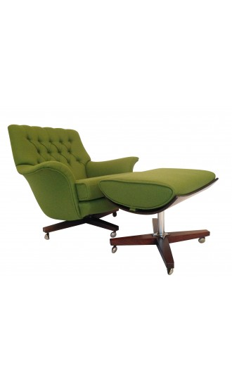 Vintage G Plan Swivel Armchair With Footstool