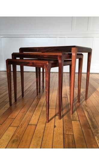 Midcentury Danish Rosewood Nesting Tables by Johannes Andersen for CFC Silkeborg