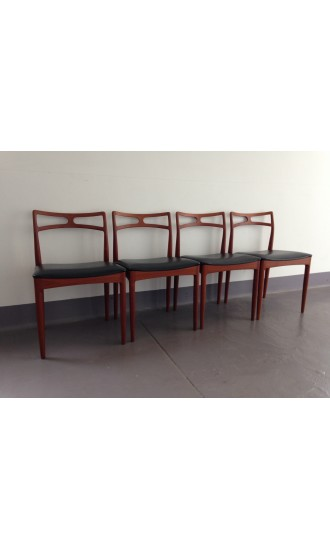 Mid Century Danish Set of Four Teak Dining Chairs by Johannes Andersen for Christian Linneberg