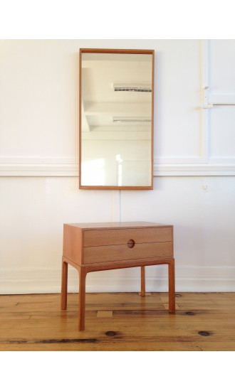 Midcentury Danish Oak Low Hallway Chest / Cabinet / Commode Model 384 and Wall Mirror by Aksel Kjersgaard