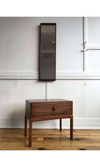 Midcentury Danish Rosewood Low Hallway Chest / Cabinet / Commode Model 384 and Wall Mirror by Aksel Kjersgaard