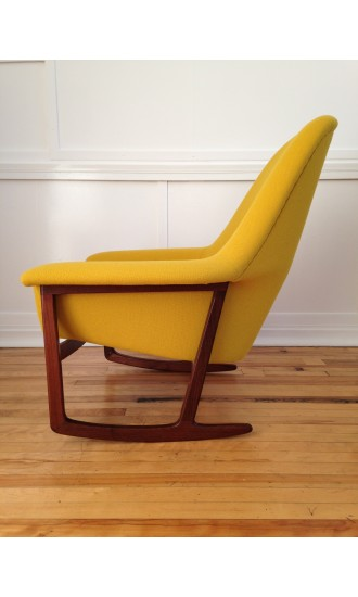 Midcentury Danish Teak Rocking Chair Armchair in Kvadrat Hallingdal Wool