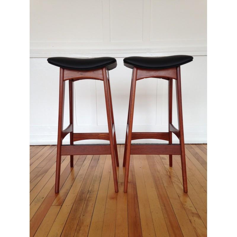 Danish Counter Seat: Pair Of 1960's Danish Teak Counter Bar Stools By Johannes