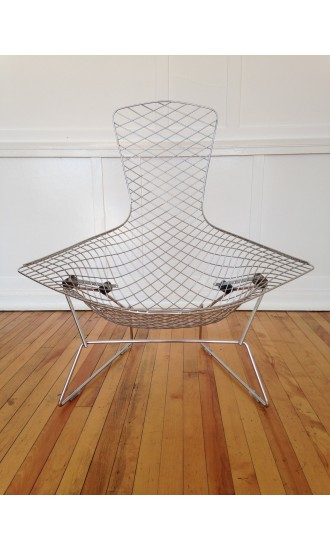 Original Midcentury Vintage Harry Bertoia Bird Chair for Knoll with Polished Chrome finish