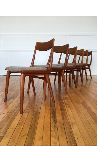 Set of Six (6) Danish Teak Boomerang Dining Chairs by Erik Christensen