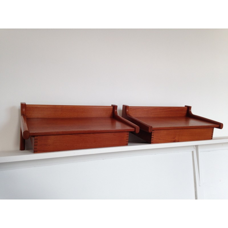 Midcentury Danish Wall Mounted Teak Bed Side Tables
