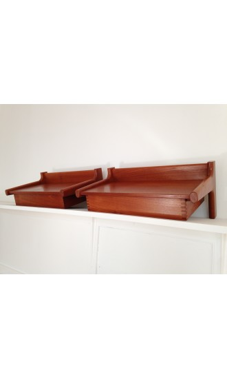 Midcentury Danish Wall Mounted Teak Bed Side Tables designed by Borge Mogensen