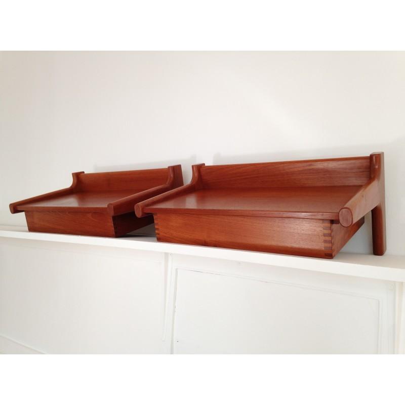 midcentury danish wall mounted teak bed side tables designed by borge mogensen. Black Bedroom Furniture Sets. Home Design Ideas