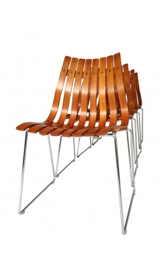Four Teak Scandia Dining Chairs Designed by Hans Brattrud