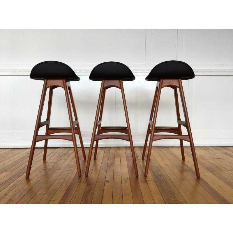 Danish Counter Seat: Set Of Three Vintage Original Danish Teak And Rosewood