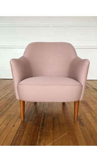 Mid Century 1950's Samspel Armchair by Carl Malmsten for AB Record Sweden in Kvadrat Wool
