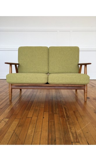 Mid Century Danish Oak and Teak Cigar Sofa Model GE240/2 by Hans Wegner for Getama in Chase Erwin Wool