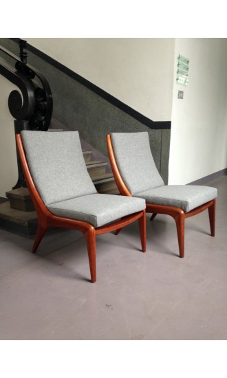 1960's Mid Century Danish Pair of Teak Lounge Chairs
