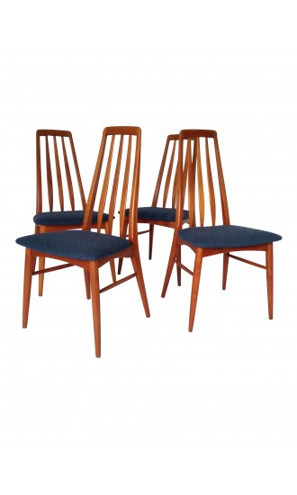 Danish Teak Set of 4 Dining Eva Chairs by Koefoeds Hornslet