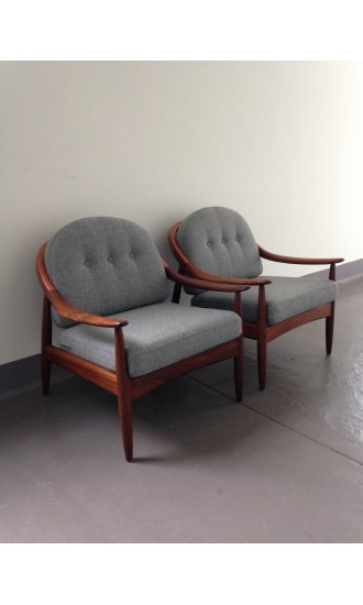 Danish Style 1960's British Mid Century Teak Afromosia Pair of Armchairs by Greaves & Thomas