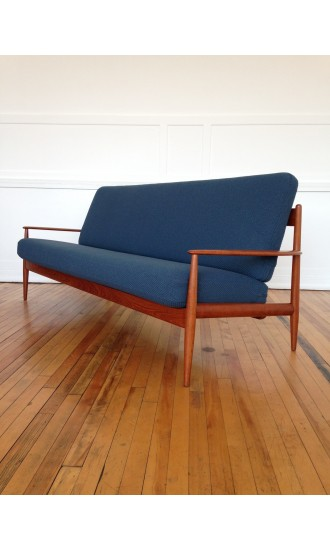 Mid Century Danish Teak Sofa by Grete Jalk for France & Son in Kvadrat Wool
