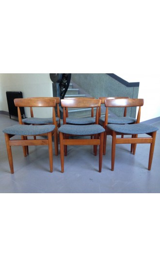Mid Century Danish Set of Six Teak Dining Chairs by Hans Olsen for Frem Rojle in Grey Wool