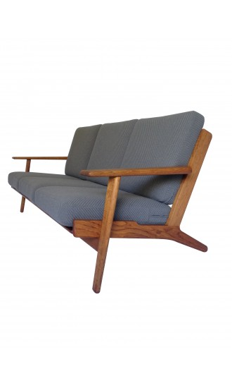 Danish 1950's Hans Wegner GE 290 Oak Three Seater Sofa for Getama