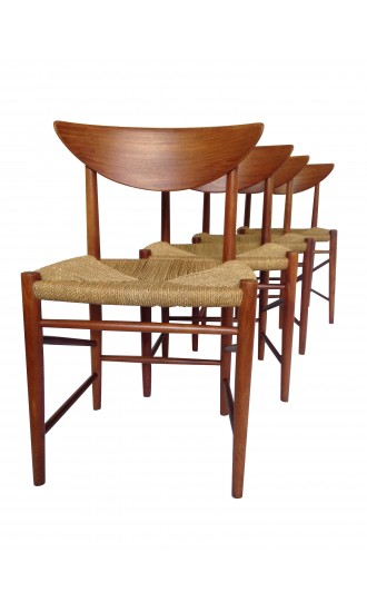 Danish Teak Set of 4 Dining Chairs by Peter Hvidt & Orla Molgaard-Nielsen for Soborg