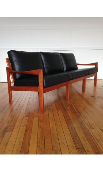 Mid Century Danish Teak and Leather Sofa by Illum Wikkelso for Niels Eilersen