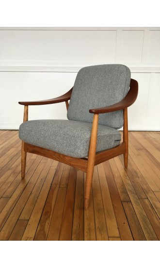 Mid Century Danish Oak and Teak Armchair by Illum Wikkelso for Soren Willadsen in Kvadrat Wool