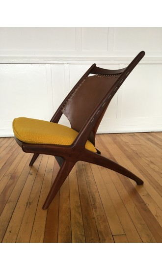 Super Rare Mid Century Norwegian Krysset Lounge Chair by Fredrik Kayser for Gustav Bahus