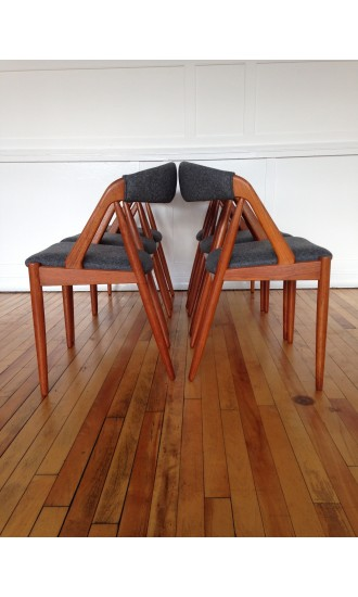 Danish Teak Set of 6 Dining Chairs by Kai Kristiansen