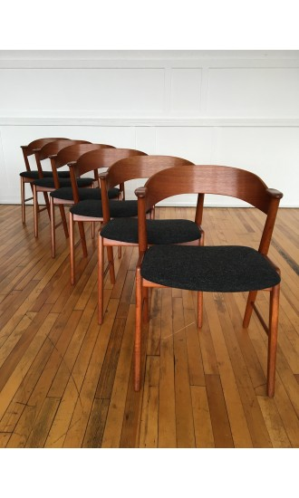 Mid-century Danish Teak Set of 6 Dining Chairs by Kai Kristiansen for Korup Stolefabrik in Kvadrat Wool