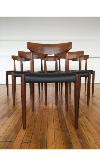 Mid Century Danish Rosewood Set of Six (6) Dining Chairs Model 343 by Knud Faerch for Slagelse Mobelvaerk in New Black Leather