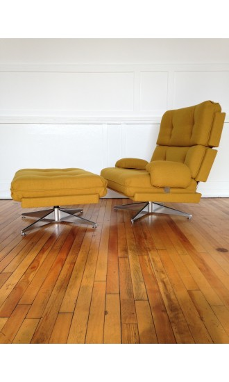 1970's Howard Keith Kohinoor Swivel Armchair with Footstool Midcentury