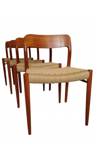Set of 4 Teak Niels Moller Danish Dining Chairs with new paper cord seats