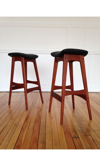 Pair of 1960's Danish Teak Counter Bar Stools by Johannes Andersen