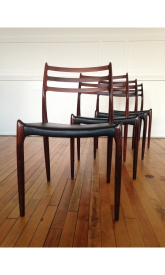 Set of Four Original Vintage Midcentury Danish Rosewood Model 78 Dining Chairs by Niels Moller