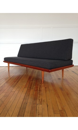 Mid Century Danish Teak Minerva Sofa Bed by Peter Hvidt and Orla Molgaard-Nielsen for France & Daverkosen in Kvadrat Wool