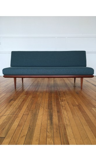 Mid Century Danish Teak Minerva Sofa Bed by Peter Hvidt and Orla Molgaard-Nielsen for France & Daverkosen in Svensson Wool
