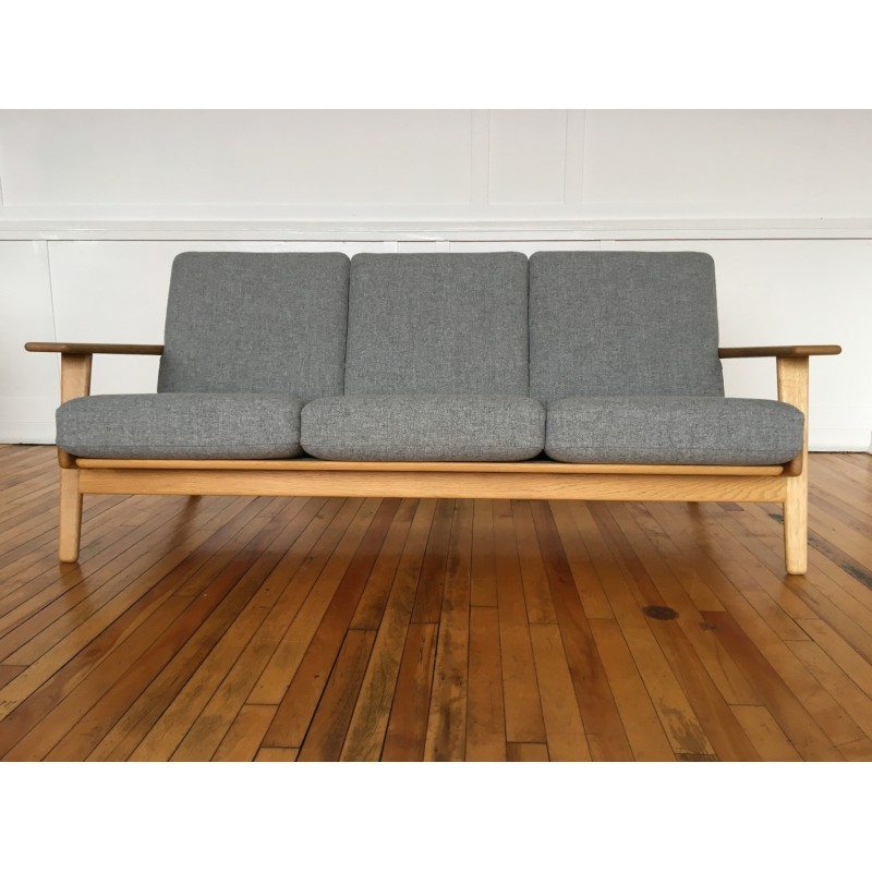 Mid Century Danish Oak Plank Sofa Model Ge 290 By Hans Wegner For Getama In Kvadrat Wool