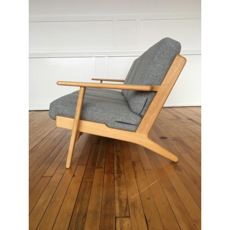 mid century danish oak plank sofa model ge 290 by hans wegner for