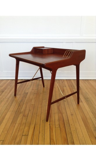 Midcentury Danish Teak and Brass Writing Desk by Svend Aage Madsen for KK Furniture