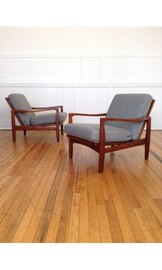Danish Style 1960's Heal's British Mid Century Teak Afromosia Pair of Armchairs by Toothill