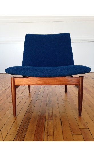 1960's Ib Kofod Larsen Teak Easy Chair Lounge Chair for G Plan Danish range in Bute wool