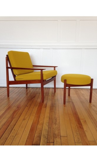 Mid-Century Danish Armchair by Arne Vodder for Glostrup and Footstool/Ottoman by Spottrup