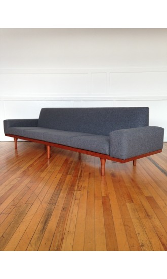 Mid Century Danish Huge Four Seater Teak Sofa Model 50-4 by Illum Wikkelso for Soren Willadsen in Kvadrat Wool