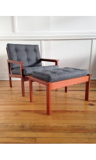 Mid Century Danish Teak Capella Armchair Easy Chair and Footstool by Illum Wikkelso for Niels Eilersen