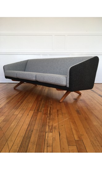 Mid Century Danish Oak Sofa Model ML-90 by Illum Wikkelso for Mikael Laursen in Kvadrat Wool