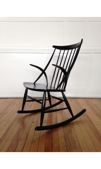 Mid-Century Danish Rocking Chair Armchair Designed by Illum Wikkelso for Niels Eilersen
